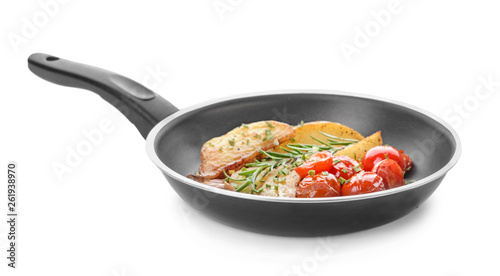 Stampa su Tela Frying pan with tasty baked potato on white background