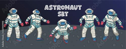 Fotografie, Obraz  Astronaut vector set.