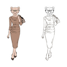 Humanized Lioness Lady Hipster...