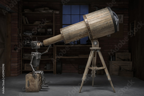 Fotografía  Robot with a telescope in a workshop