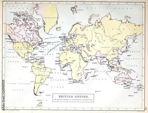 Old map. British empire. Fototapeta