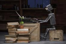 Robot Prints On A Typewriter