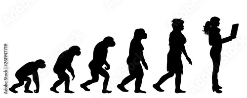 Foto Painted theory of evolution of man
