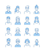 Line Avatars. Happy People Icons User Flat Outline Male Female Avatar Anonymous Faces Man Woman Cute Guy Internet Profile Vector Set. Illustration Of Male And Female, Guy Face Avatar