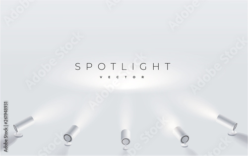 Poster Licht, schaduw Five spotlights shine in one place. projector on the wall. Minimalistic design. Empty place. Vector illustration. Spotlights with bright white light shining stage vector set.