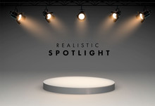 Spotlights With Bright White Light Shining Stage Vector Set. Illuminated Effect Form Projector, Illustration Of Projector For Studio Illumination Eps 10.