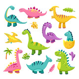 Fototapeta Dinusie - Cartoon dinosaur. Cartoon cute baby dino triceratops prehistoric wild animals brontosaurus isolated dinosaurs vector funny characters. Brontosaurus dinosaur, dino animal isolated illustration