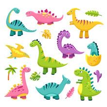 Cartoon Dinosaur. Cartoon Cute Baby Dino Triceratops Prehistoric Wild Animals Brontosaurus Isolated Dinosaurs Vector Funny Characters. Brontosaurus Dinosaur, Dino Animal Isolated Illustration