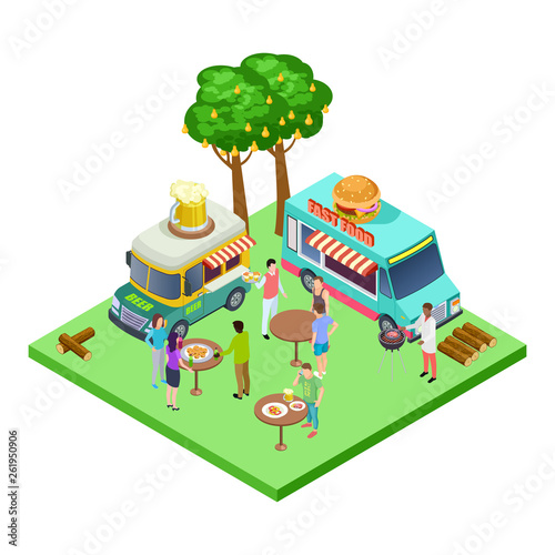Printed kitchen splashbacks Castle Summer street cafe, bbq party, picnic in the park isometric vector location. Isometric park, bbq party summer illustration