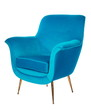 canvas print picture - Old retro sixties style chair in blue