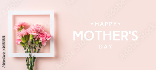 top view of carnation on pink for mothers day Fototapeta