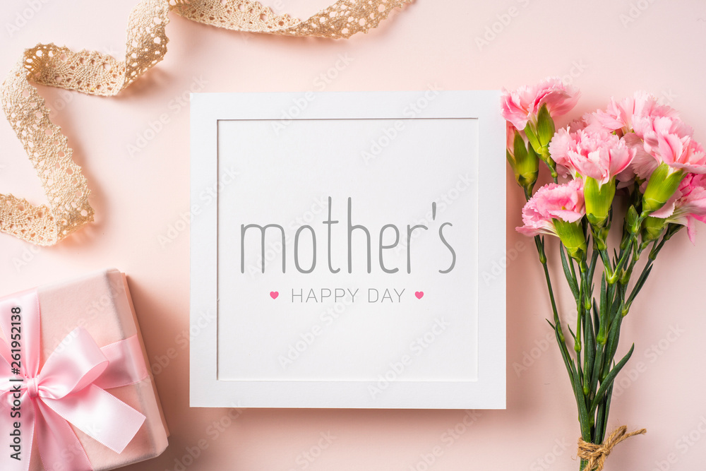 Fototapety, obrazy: top view of carnation on pink for mothers day