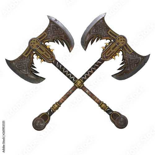 Photo Viking fantasy two-handed ax on an isolated white background