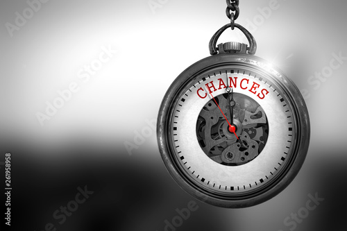 Fotografie, Obraz  Pocket Watch with Chances Text on the Face. 3D Illustration.