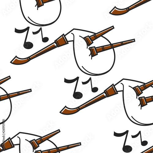 Fotografiet Gaida Bulgarian musical instrument seamless pattern bagpipe
