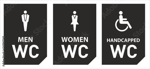 Toilet vector icons set boy or girl restroom wc. Wallpaper Mural
