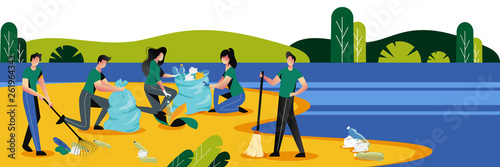 People cleaning plastic garbage on waterfront. Volunteering, ecology and environment concept. Vector illustration.