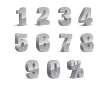 3D Gray-silver Metallic Letter. 0, 1, 2, 3, 4, 5, 6, 7, 8, 9 Numeral Alphabet. Vector Isolated Number.