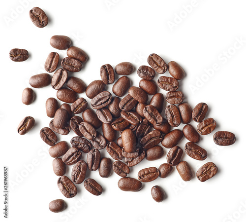 Roasted coffee beans isolated on white background Wall mural