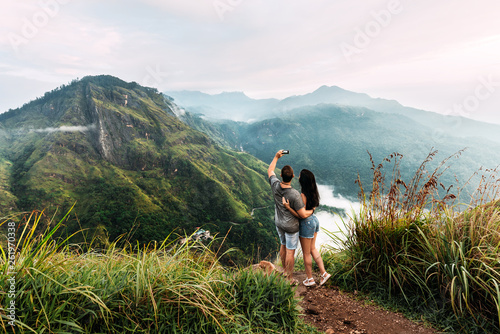 Photo  A couple in love takes a selfie