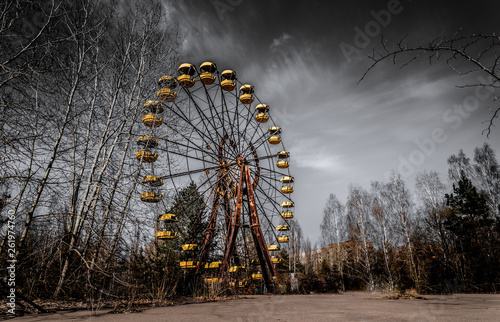 Fototapeta  Old ferris wheel in the ghost town of Pripyat