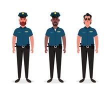 Three Police Officers. Cartoon Style. Vector Illustration
