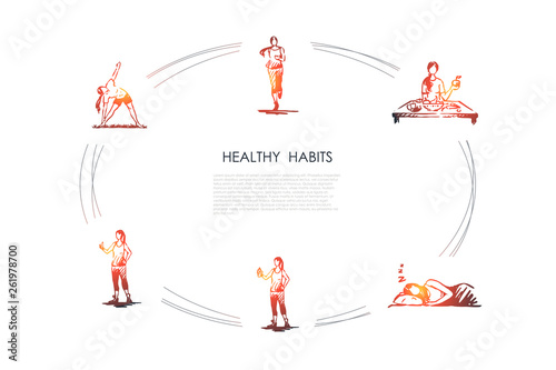 Healthy habits - running, eating healthy food, good sleeping, doing fitness and Fototapeta