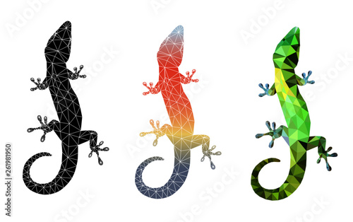 Fotografie, Tablou Set of 3 lizard silhouettes isolated on white background vector illustration Low poly triangular vector illustration