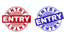 Grunge ENTRY Round Stamp Seals Isolated On A White Background. Round Seals With Distress Texture In Red And Blue Colors. Vector Rubber Imitation Of ENTRY Tag Inside Circle Form With Stripes.