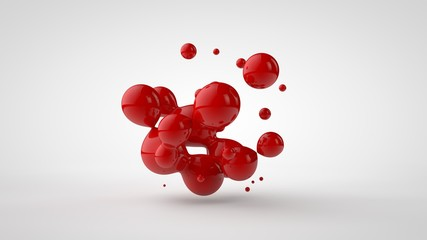 3D rendering of a plurality of drops of the red liquid looked like blood, juice. Drops of different shapes, different sizes randomly arranged in space, isolated on a white background. 3D illustration