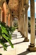 Carved stone arcades and columns of Monserrate palace in Sintra