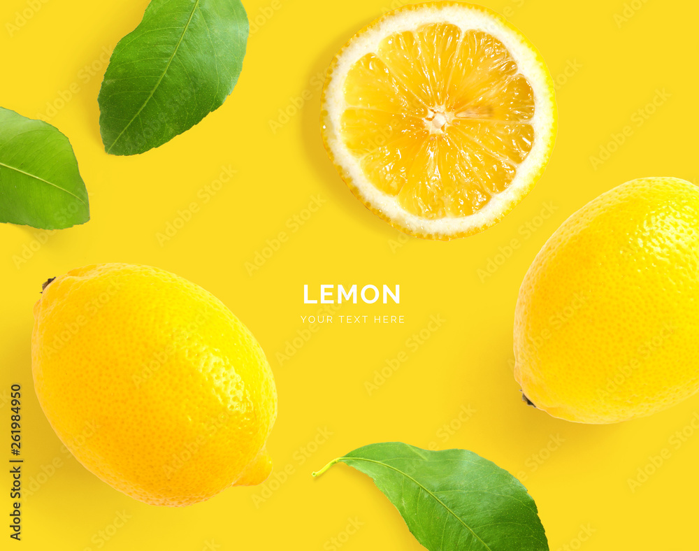 Fototapety, obrazy: Creative layout made of lemon. Flat lay. Food concept. Macro concept. Yellow background.
