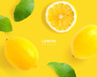 Creative layout made of lemon. Flat lay. Food concept. Macro concept. Yellow background.