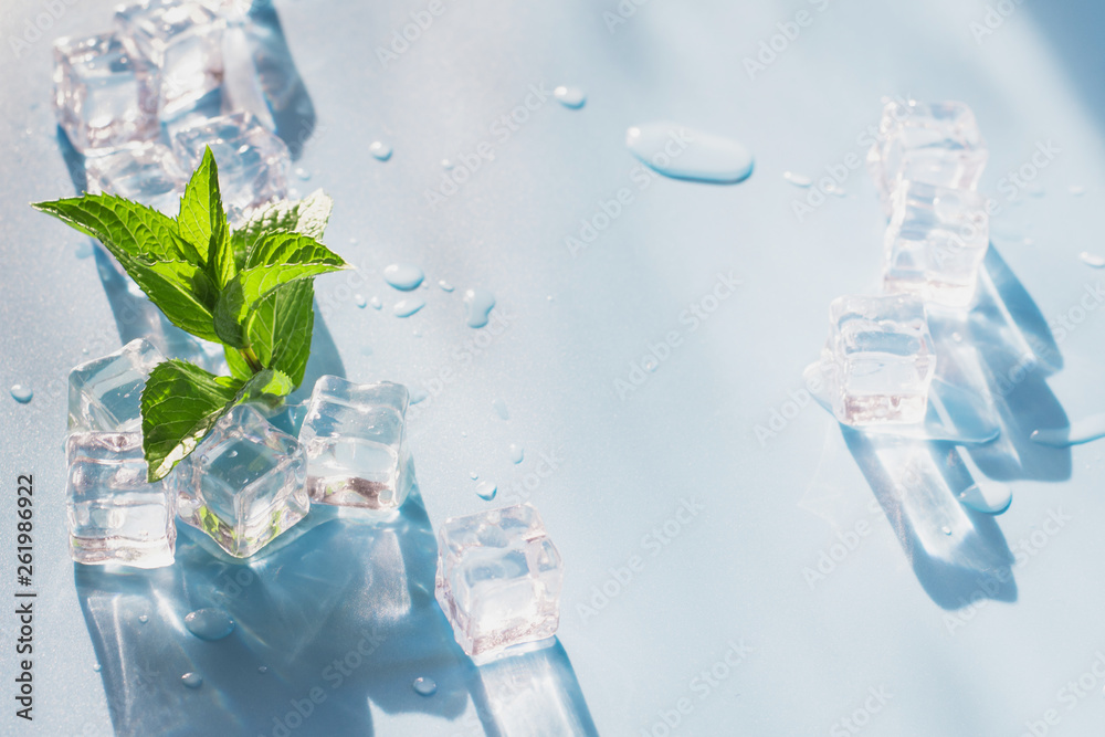 Fototapety, obrazy: Ice cube with mint on blue. Summer fresh concept.
