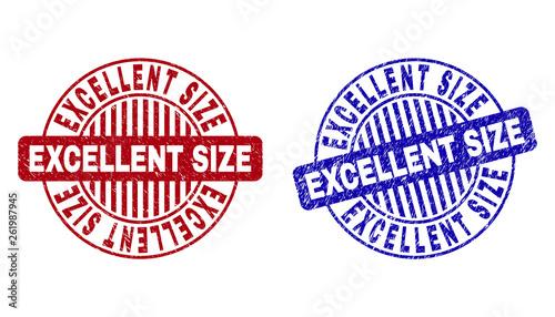 Fotografía  Grunge EXCELLENT SIZE round stamp seals isolated on a white background