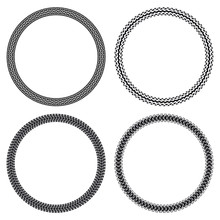 Set Of Car, Motorcycle, Bicycle And Tank Tire Tracks, Isolated On White Background, Seamless Vector Texture