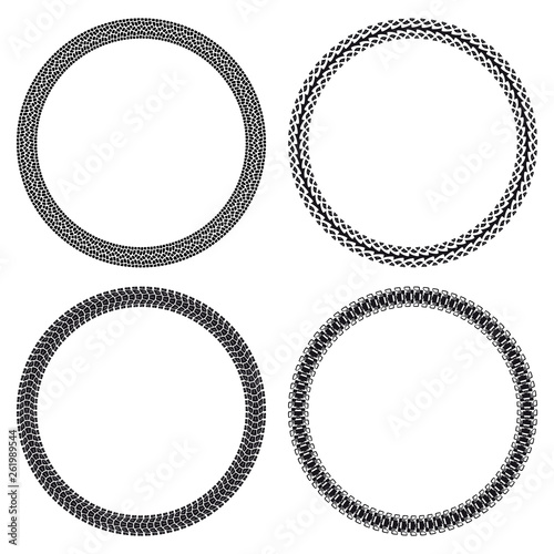 Set of car, motorcycle, bicycle and tank tire tracks