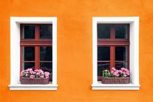 Orange Paint Wall Background W...