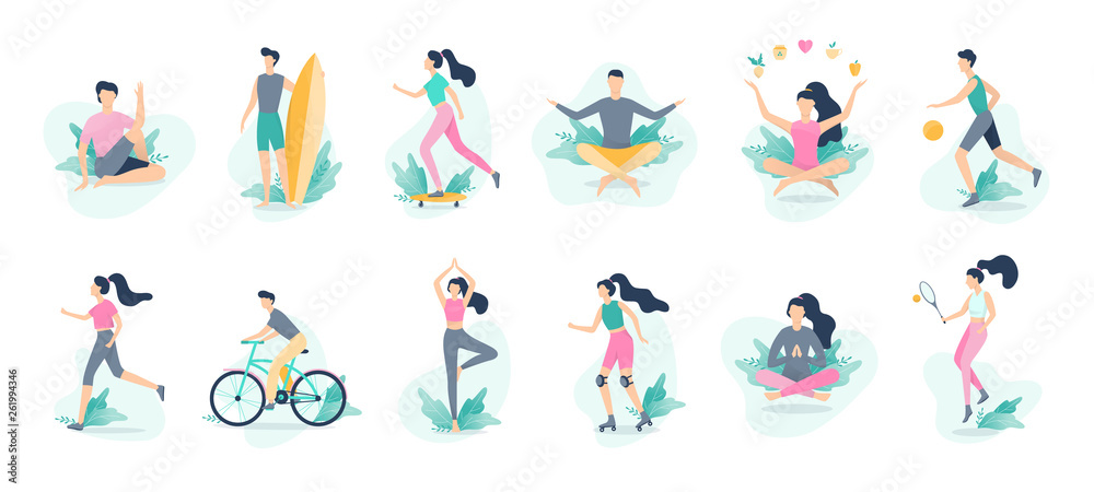 Fototapeta Healthy lifestyle infographic. Sport and fitness, healthy