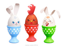 Three Cheerful Friends. White Easter Bunnies And Brown Rooster Are Sitting In The Egg Cups. Realistic Vector Clipart. Cute   Eggs Are Decorated With A Painted Faces, Paper Rabbit Ears And Chicken Comb