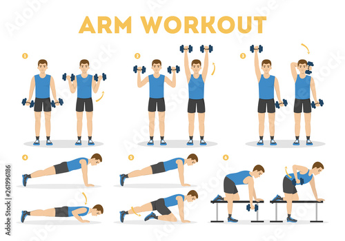 Leinwand Poster Arm workout for man. Exercise for strong arms