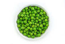 Green Peas On White Bowl On White Background.