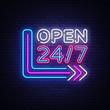 24 7 Neon Sinboard Vector. Open all day neon sign, design template, modern trend design, night signboard, night bright advertising, light banner, light art. Vector illustration