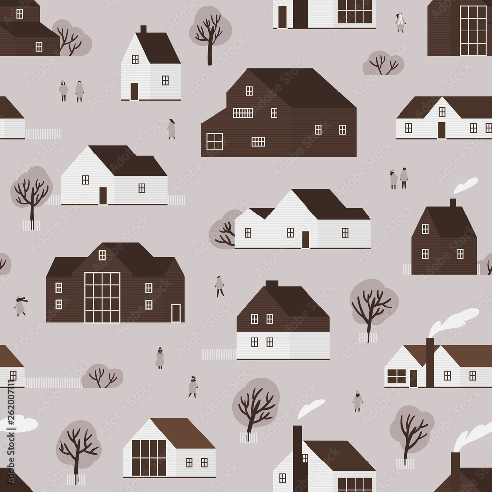 Seamless pattern with district of suburban cottages in Scandic style and town dwellers. Backdrop with countryside wooden buildings of ecological architecture. Flat monochrome vector illustration.