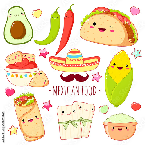 Photo  Set of cute mexican food stickers in kawaii style