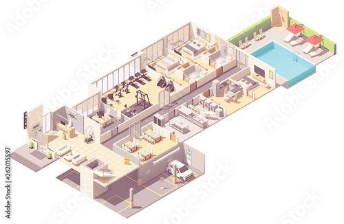 Stampa su Tela Vector isometric hotel interior