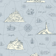 Vector Abstract Seamless Background On The Theme Of Travel, Adventure And Discovery. Old Hand Drawn Map With Islands, Lighthouses, Sailboats And Handwritten Inscriptions In Retro Style