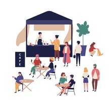Outdoor Cafe And Cute Funny People Walking Beside It, Sitting At Tables, Drinking Coffee And Talking To Each Other. Street Food Festival, Summer Open Air Event. Flat Cartoon Vector Illustration.