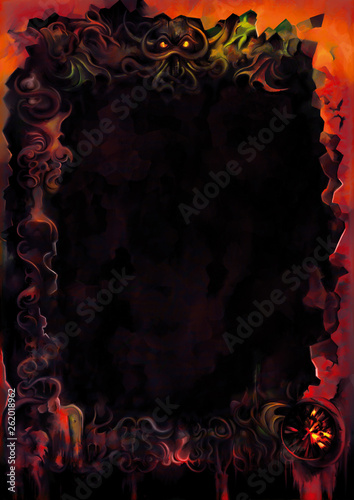 Dark Fantasy Gloomy Background Illustration Sinister Background With Broken Elements And Chthonic Frame In Red Colors Digital Painting Buy This Stock Illustration And Explore Similar Illustrations At Adobe Stock Adobe Stock