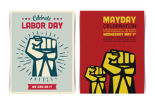 Mayday Celebration Event Poster Template With Clenched Fists. Vector Illustration.